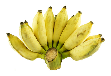 a bunch of ripe cultivated banana on white background