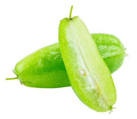 pius: Bilimbi (Averhoa bilimbi Linn.) or cucumber fruit slice on white background Stock Photo
