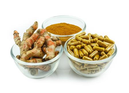 alternative medicine: Turmeric (Curcuma longa L.) root and turmeric powder for alternative medicine ,spa products and food ingredient. Stock Photo