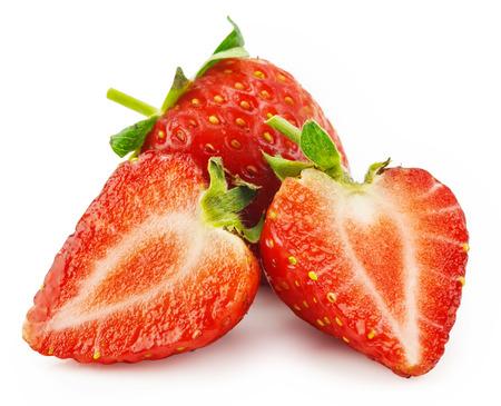 Beautiful strawberries isolated on white Banco de Imagens