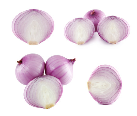 The set, onions red on a white background, is isolated. Stock Photo
