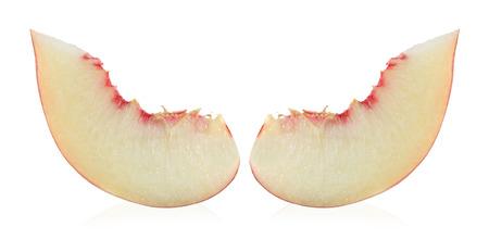 Ripe peach fruit slice isolated on white background