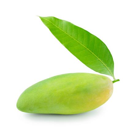 mango fruit with leaf isolated on white background Stock Photo