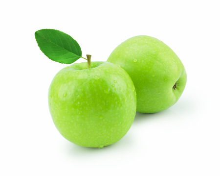 Isolated green apple with water drops (white background). Fresh diet fruit. Healthy fruit with vitamins.
