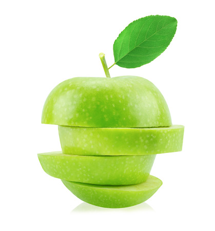 Isolated green apple slices with leaf (white background). Fresh diet fruit.