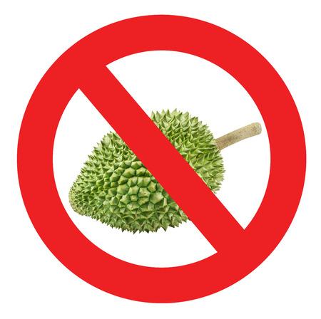 C�rculo proibido sinal vermelho para nenhuma durian permitida isolado no fundo branco com trajeto de grampeamento. Banco de Imagens