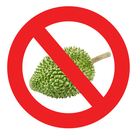 Circle prohibited red sign for no durian allowed Isolated on white background with clipping path.