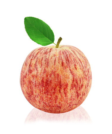 Red apple with leaf on a white background. Stock Photo