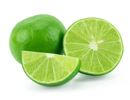 Lime slices isolated on white background Stock Photo