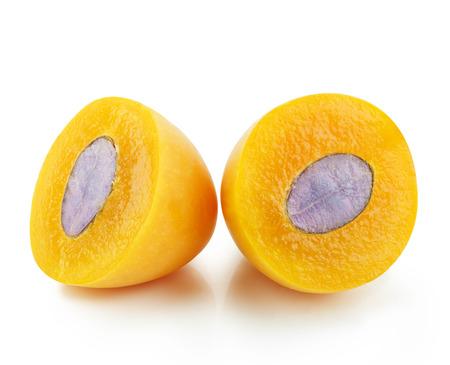 Closeup sweet Marian plum thai fruit isolated on white background (Mayongchid Maprang Marian Plum and Plum Mango,Thailand) Stock Photo