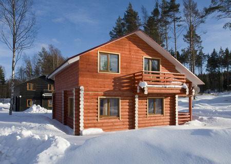 wooden house: wooden house in winter Stock Photo