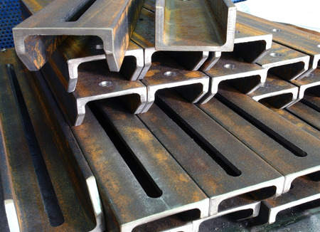 metal pipes stacked in rows on a shelf Stock Photo - 27566080