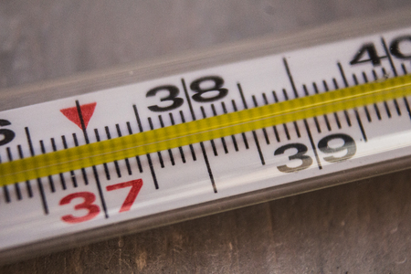 scale icon: the thermometer with temperature in Celsius light background Stock Photo