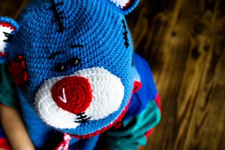 polkadot: a boy in handmade hat teddy bear