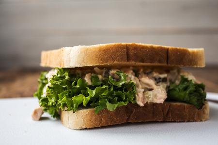 Das Thunfisch-Sandwich mit Salat auf weißem Teller Standard-Bild