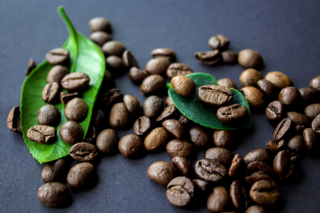 coffe beans and green leaf on black background Imagens