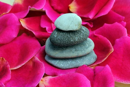zen stones on rose petals Stock Photo - 10023898