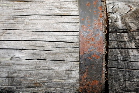 wood with rasted iron background