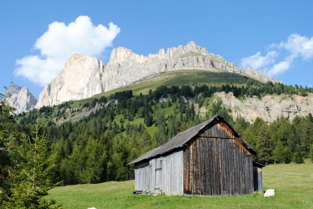 wooden house with mountain landscape