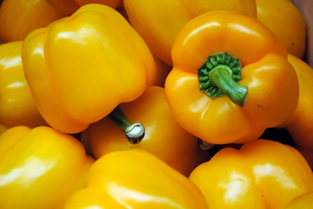 background of yellow peppers