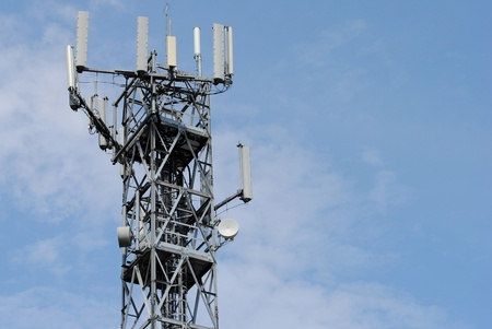 antenna tower with many booster, sky background Stock Photo