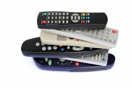 Pile of six remote controller, isolated on white background