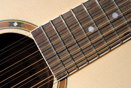 close-up of an acoustic twelve strings guitar photo