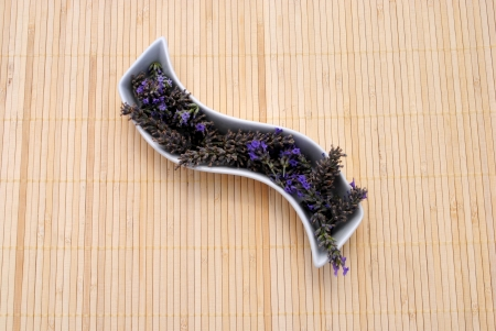 placemat: Lavender into shaped dish, on a bamboo placemat