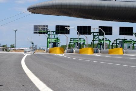highway toll gate on italian road Stock Photo