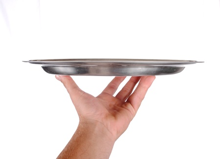 hand holds a serving tray, isolated on white photo