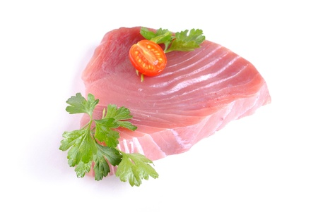 raw tuna steak, isolated on white background photo