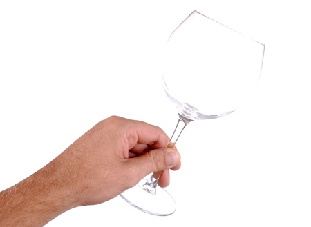 hand holds a wine glass, isolated on white Stock Photo