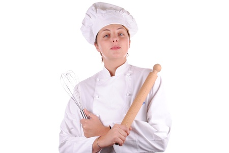 young female executive chef with a rolling pin,  isolated on white  photo