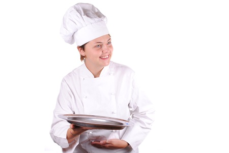 young female executive chef with a serving tray, isolated on white Stock Photo - 15424589