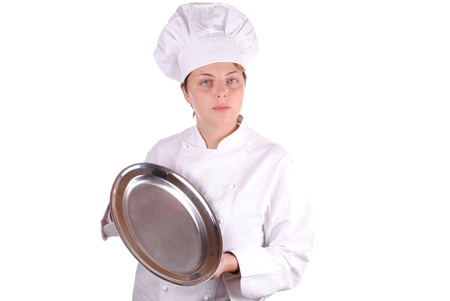young female executive chef with a serving tray, isolated on white