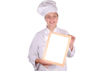 young female chef showing blank menu sign, isolated on white