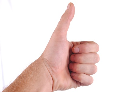 concordance: hand with thumb up, isolated on white background Stock Photo