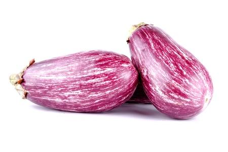purple striped aubergines on white, soft shadows