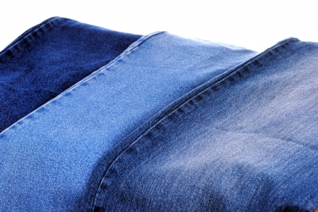 serie di diversi tipi di jeans blu, come sfondo Archivio Fotografico