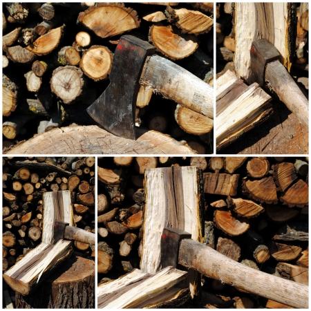 four views of an iron axe chopping wood logs