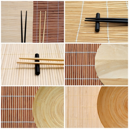 set of six chopstick and bamboo images, useful as business cards photo