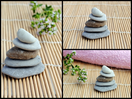 set of three images of zen stones on bamboo photo