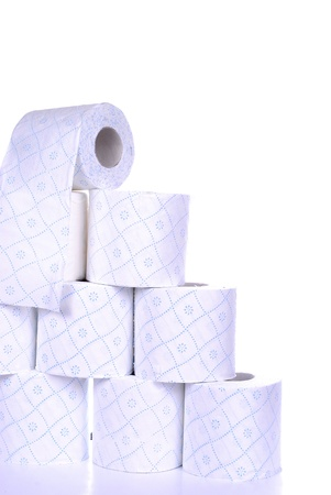 dysentery: stack of toilet paper rolls, isolated on white background