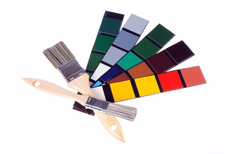 blanch: paints and color samples, isolated on white background