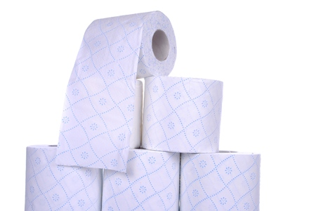 stack of toilet paper rolls, isolated on white  Stock Photo - 24902875