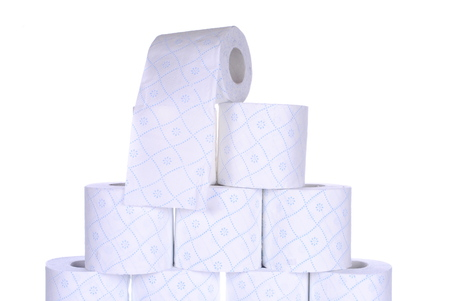 stack of toilet paper rolls, isolated on white  Stock Photo - 24902905