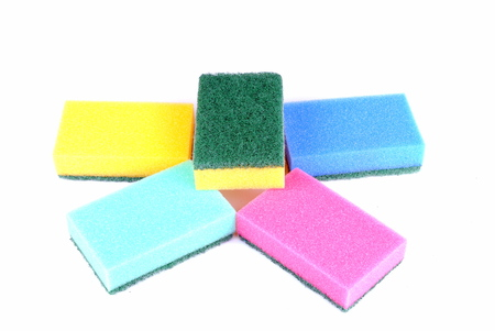 colorful sponge isolated on white background Stock Photo