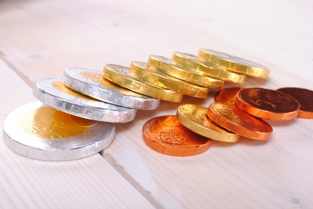 euro coins made of chocolate on a wooden table