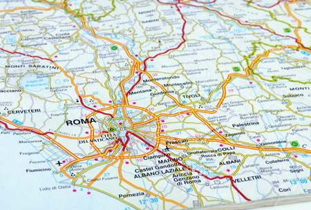 close up of an italian road map showing Rome Stock Photo