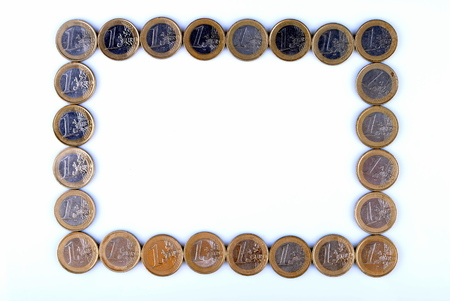 picture frame made of euro coins